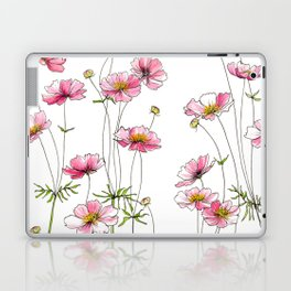 Pink Cosmos Flowers Laptop & iPad Skin