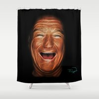 robin williams Shower Curtains featuring Robin Williams Abstracto by Tazmatic