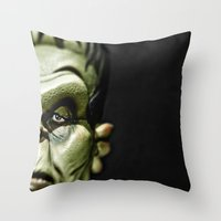 frankenstein Throw Pillows featuring Frankenstein by Sergio Bastidas