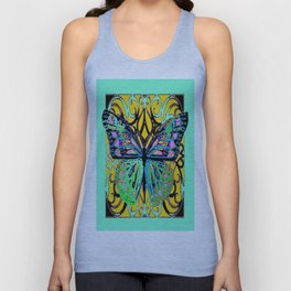 Jade Green Fantasy Butterfly Pattern Abstract Unisex Tank Top