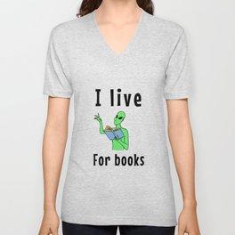 I live for books Unisex V-Neck