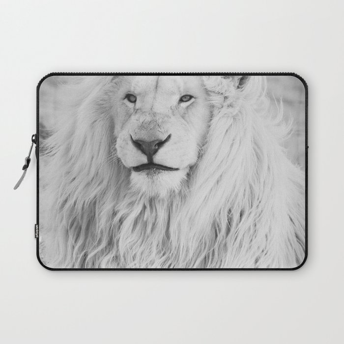 Albino Lion (Black and White) Laptop Sleeve