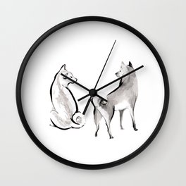 Two Shiba Inu Couple Wall Clock