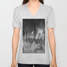 Ghostly Kensal Green Cemetery London Unisex V-Neck