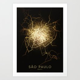 São Paulo Brazil football city night light map Art Print