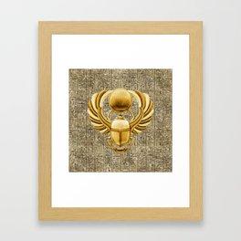 Gold Egyptian Scarab Framed Art Print