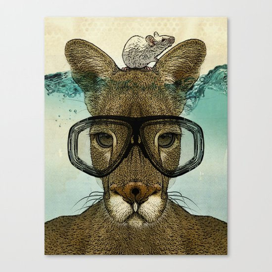 Skuba Roo and a white mouse Canvas Print
