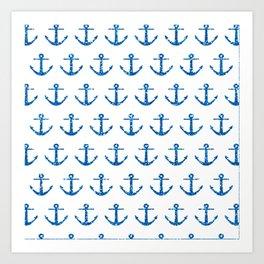 Blue Glitter Ancchor Pattern Art Print