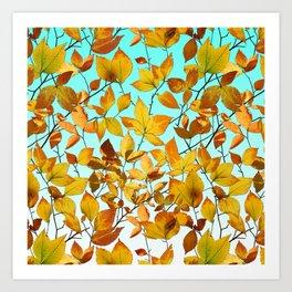 Autumn Leaves Azure Sky Art Print