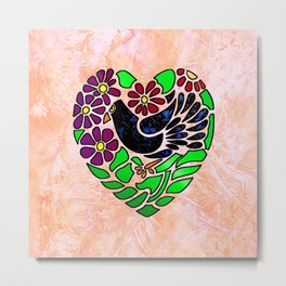 Gothic Bird in Heart on Pink Metal Print