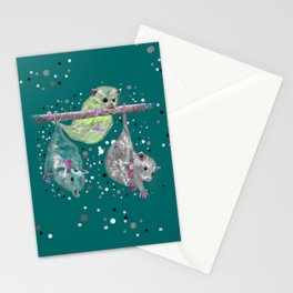 Green possum trio on a branch - Teal Stationery Cards