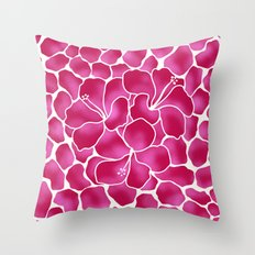 Hibiscus Flowers Animal Print RED PINK Throw Pillow