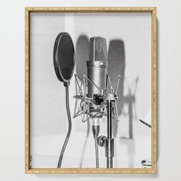 Microphone black and white Serving Tray