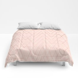 Modern white rose gold abstract geometric triangles on blush pink Comforters