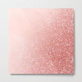 Rose Gold Pink Mermaid Sparkles V Metal Print