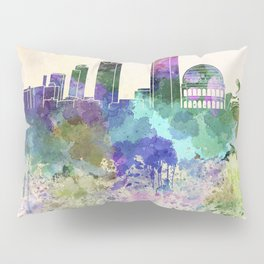 Lyon skyline in watercolor background Pillow Sham