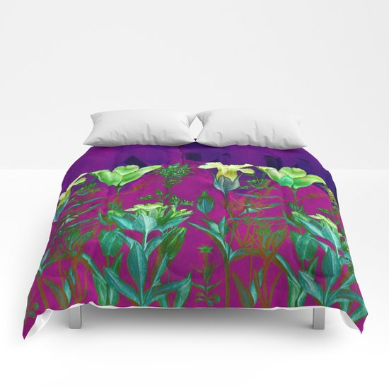 flowers on a wall Comforters