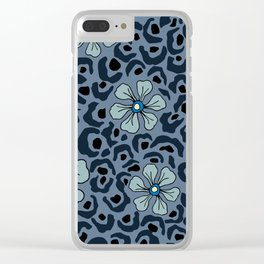 Blue animal print floral Clear iPhone Case