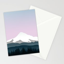 Mount Hood Forest - Pink Haze Stationery Cards