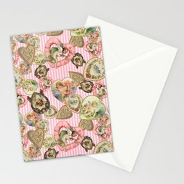 Victorian Romantic  Heart Frames Toss in Vintage Pink + White Striped Paper Stationery Cards