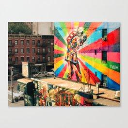 Street Art Mural, Times Square Kiss Recreation Canvas Print