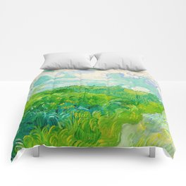 Field with Green Wheat 1890 Oil Painting By Vincent Van Gogh Comforters