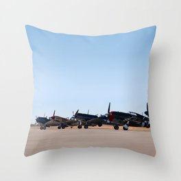 WW2 Warbirds Line-up, Sonoma County Airport, California Throw Pillow