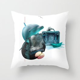 BREATHE (Totem of the Dolphin) Throw Pillow