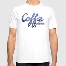 Coffee Please Drinks Caffeine Typography Coffee Lovers White Mens Fitted Tee MEDIUM