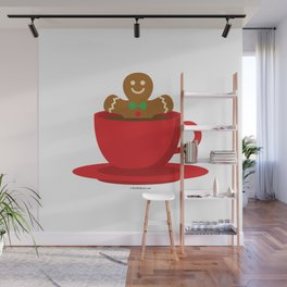 Gingerbread Man Relaxing In A Hot Chocolate Red Cup Wall Mural