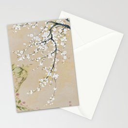 Japanese apricot flower painting,oriental,chinoiserie,korean painting Stationery Cards
