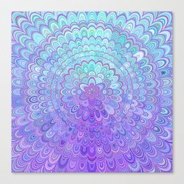 Mandala Flower in Light Blue and Purple Canvas Print