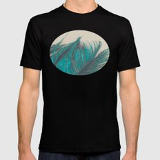 Turquoise Feather Abstract Mens Fitted Tee MEDIUM Black