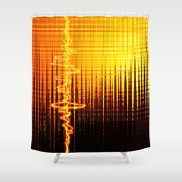 Sound wave orange Shower Curtain