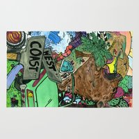 west coast Area & Throw Rugs featuring west coast. by Late Bloomer