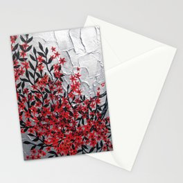 Red and black tree with textured silver background -Modern design Stationery Cards