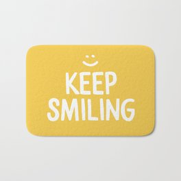 Keep Smiling Quote - Yellow Bath Mat