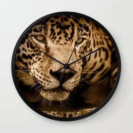 Magnificent Adorable Fearsome Adult Leopard Face Close Up Ultra HD Wall Clock