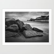 Southwold Pier and Rocks, Suffolk Art Print