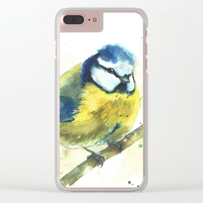 Watercolor titmouse bird Clear iPhone Case