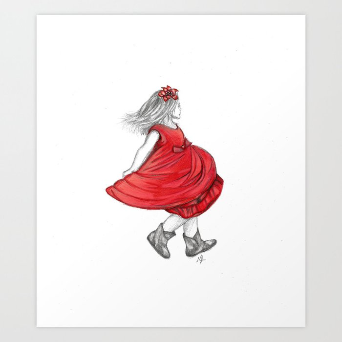 Dancing Girl In Red Dress Art Print by scarletwild