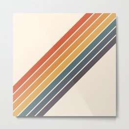 Arida -  70s Summer Style Retro Stripes Metal Print
