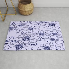 Clematis line drawing Rug