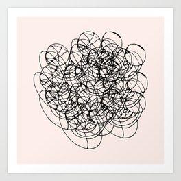 Black Circle Lines on Pink Art Print