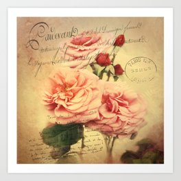French Rose Bouquet Art Print