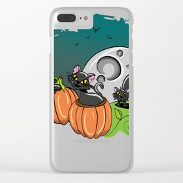 Black Cats and Jack O Lanterns for Halloween Clear iPhone Case