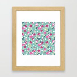 Retro. Multi-colored polka dots . Framed Art Print