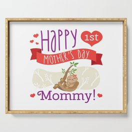 Happy Mothers Day Message Sloth Mom Grandma Gift Serving Tray