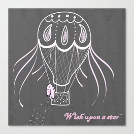Bunny in hot air balloon Canvas Print