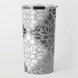 Scroll Damask Ptn Art BW & Grays Travel Mug